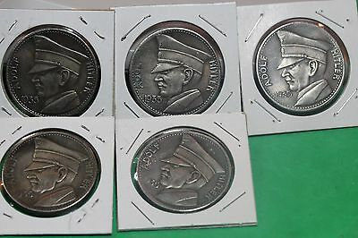 Lot of 5 1935 A. Hitler 5 RM Commemorative  (RR162)