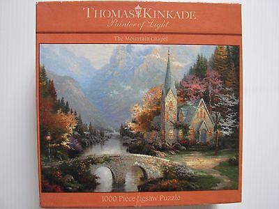 Jigsaw Puzzle 1000pce - The Mountain Chapel - Thomas Kinkade - Complete .