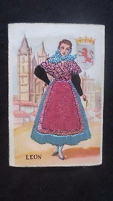 Leon Spain Embroidered ethnic dress postcard woman