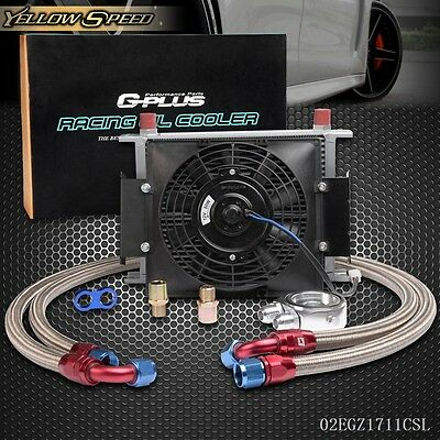 "UK 28 Row AN10 Engine Oil Cooler + Filter Adapter Kit + 7"" Fixed Cooling Fan"