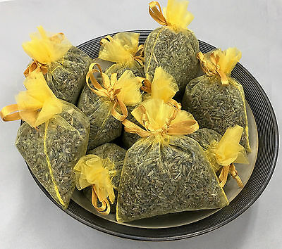 Set of 10 Lavender Sachets made with Daffodil Organza Bags