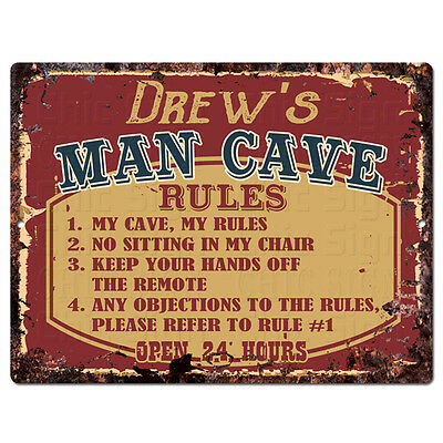 PPMR0431 DREW'S MAN CAVE RULES Rustic Tin Chic Sign man cave Decor Gift
