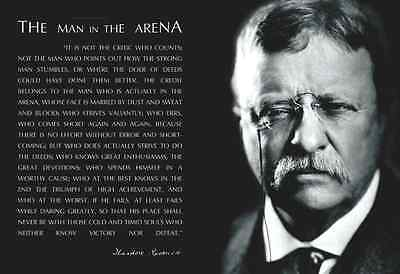 THEODORE TEDDY ROOSEVELT Man In The Arena Black Border