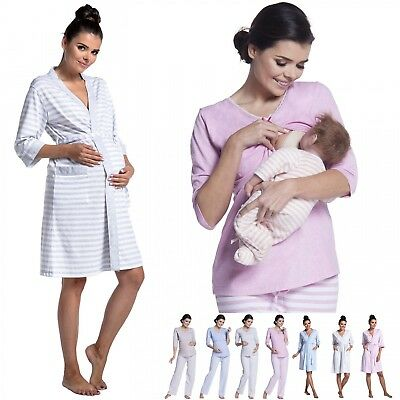 Zeta Ville - Women's Maternity Breastfeeding Soft Pyjamas Stripes Pattern - 394c