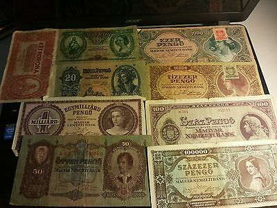 Lot of 9 banknotes pengo from budapest Hungary