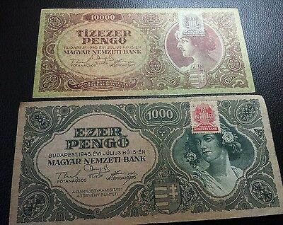 lot of two banknotes with stamp from budapest 1945 Europe ww2 war history