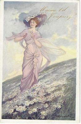 Art Nouveau Beautiful Lady In A Field Of Daisy Flowers - Artist Signed Old Pc