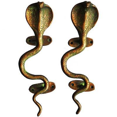 antique style Brass designer snake shaped Door Handle pair home decor art