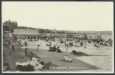 Weymouth Dorset The Sands Vintage Woolstone Printed Postcard