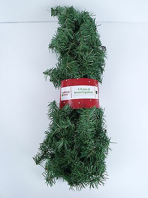Holiday Time Green Branch Garland Indoor/Outdoor 9' Christmas Holiday Decor NIP