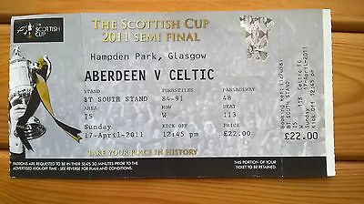 ABERDEEN v CELTIC – 17.04.11 – SCOTTISH CUP SEMI-FINAL – USED TICKET