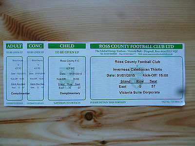 ROSS COUNTY v INVERNESS C.T. – 01/01/15 – USED TICKET
