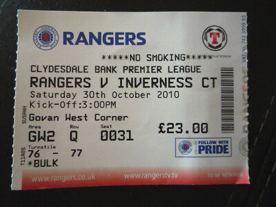 RANGERS v INVERNESS C.T. – 30/10/10 – USED TICKET – VGC