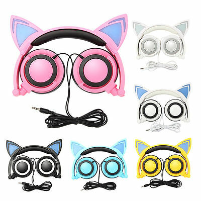 Brookstone Cat Ear Gaming Mic Headphones LED-Music Lights Rechargeable Colourful