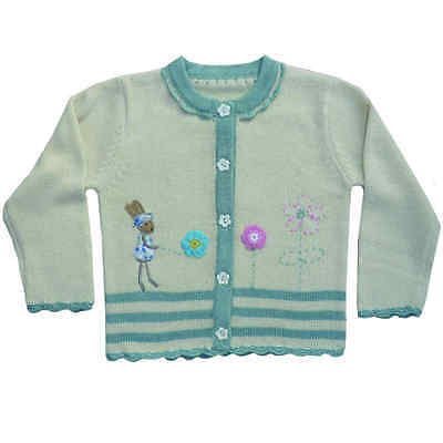 Powell Craft England Hand Knitted Rabbit Cardigan 0-6 Months