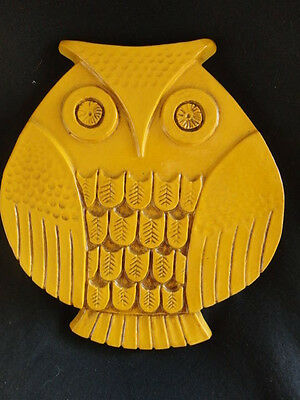 Vintage Syroco Owl Wall Plaque Number 7087 Mustard Yellow