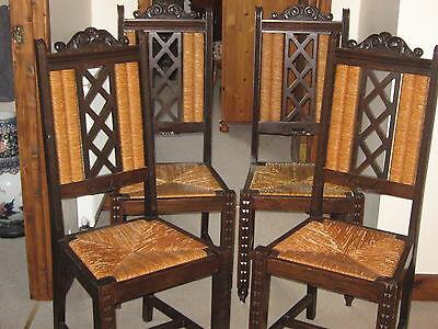 Lovely Set Of Four French Country Oak And Rush Seated Chairs.1910-1930.