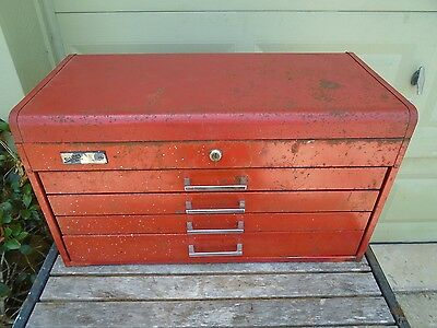 Vtg Disston Tools My Buddy 6104 Top Tool Box Chest Cabinet 4 Drawers Locking Lid