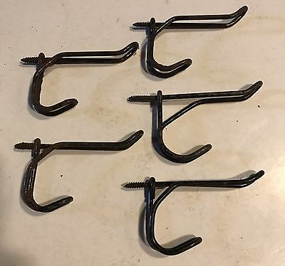 5 Vtg Shabby Cottage Twisted Metal Wire Coat Hooks school wall coat rack hat #2