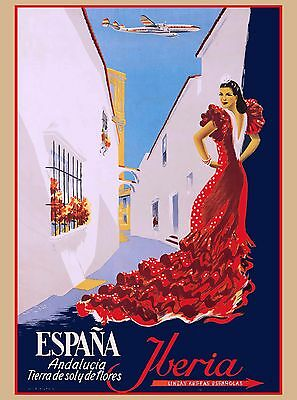 Espana Iberia Spain Spanish Senorita Europe Vintage Travel Advertisement Poster