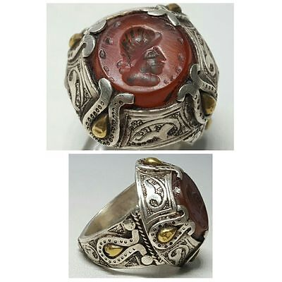 Roman Agate intaglio stone Solid Gold and silver ring very high 24ct