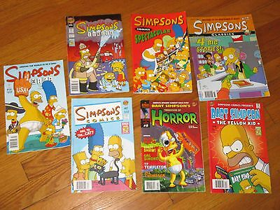 Lot 7 Simpsons Comic Books Bart Homer Lisa Marge Bongo Collection