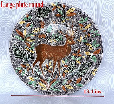 Gien Rambouillet Large Plate Round Stag Decor