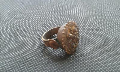 RING ANTIQUE OLD 18th  BRONZE SHIELD HAMMERED OTOMAN