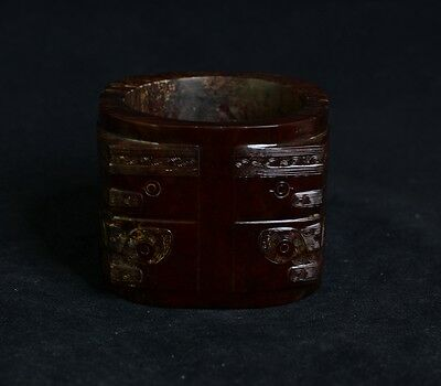 Exquisite Chinese LiangZhu Style Symbols God Face Sacrificial Jade Cong-JR12633