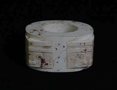 Exquisite Chinese LiangZhu Style Symbols God Face Sacrificial Jade Cong-JR12634