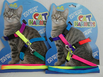 (CH012) Multi Coloured Cat Kitten Adjustable Harness and Lead Set