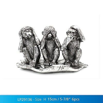 Silver Art 3 Wise Monkeys Figure Ornament By Leonardo BNIB