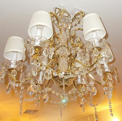 Vintage Brass Six Arm Leaded Crystal Chandelier