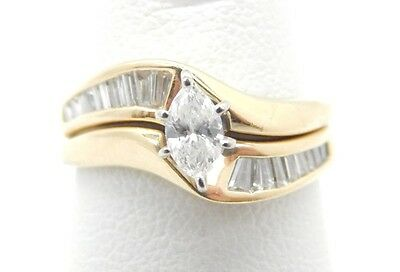 14k Gold Marquise Solitaire Diamond Wedding Engagement Ring Set .70 TCW SI2-I