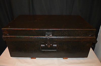 Vintage trunk chest steel storage Box Industrial coffee Table • £24.95