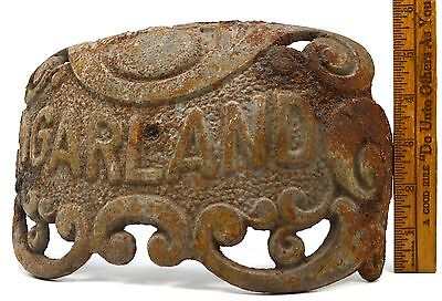 "Antique CAST IRON ""GARLAND"" STOVE PART 6x10"" Nameplate STEAMPUNK Repurpose DECOR"