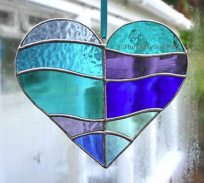 Waves of The Sea Heart Stained Glass Art Suncatcher Panel by The Glass Sea