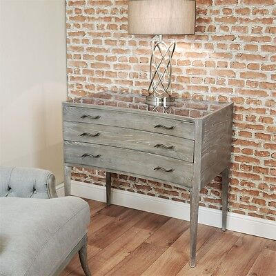 RV Astley Adelia Contemporary Grey Chest of 3 Drawers Glass Top Limed Distressed