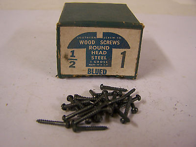 "#1 x 1/2"" Round Head Blued Wood Screws Slotted Vintage Made in USA Qty 144"