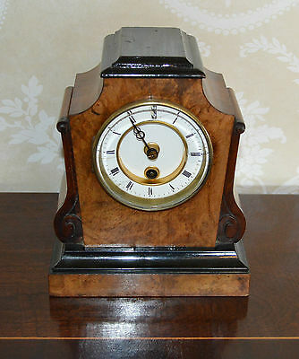 Antique Figured Walnut & Ebony Mantle Clock