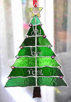 Christmas Tree Stained Glass Suncatcher Xmas Decoration Handmade -The Glass Sea