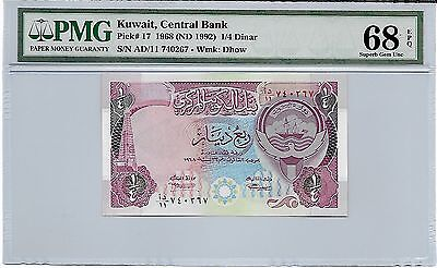 Kuwait Banknotes, 1/4 Dinar 4th Issue 1992, PMG 68 EPQ
