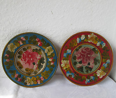 """2 x 8"""" Antique Vintage hand painted WOODEN  plate dish floral flowers WALL  ART"""