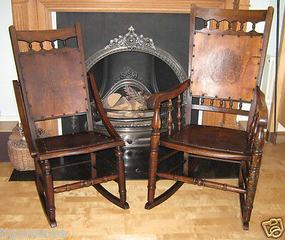 Rare! Antique Vtg Victorian Edwardian His&Hers Pair Wood Wooden Rocking Chairs