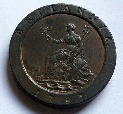 1797 George III Cartwheel Twopence - Superb edges & Rims - High Grade.