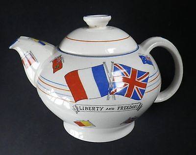 WWII Anti-Hitler Crown Ducal War Against Hitlerism Teapot In Original Box A399
