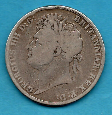 1821 Sterling Silver Crown Coin. King George Iv Five Shillings  5/-. Secundo.