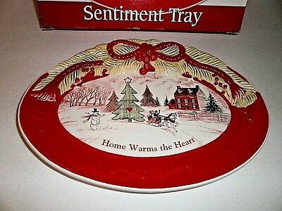 """10"""" Fitz and Floyd Christmas Cookie Plate Sentiment Tray HOME WARMS THE HEART"""