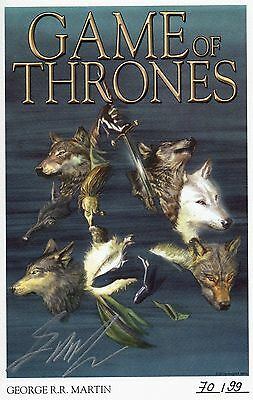 GAME OF THRONES 1-4 DELUXE-EDITION + signed Artprint`s GEORGE R.MARTIN lim.99 Ex