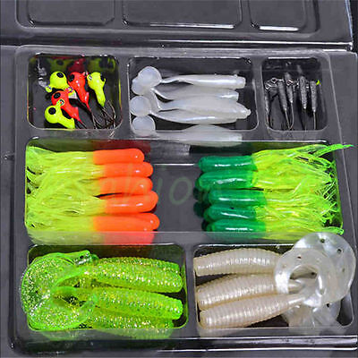35Pcs Soft Worm Fishing Baits 10 Lead Jig Head Hooks Simulation Lures Tackle